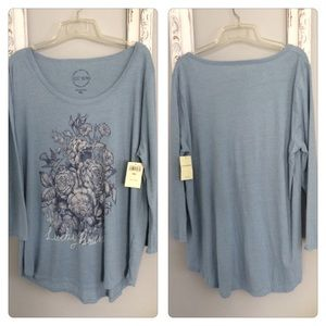 NWT Lucky Brand Floral Graphic Henley Long Top XXL